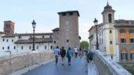 tiber island, first settlement of rome city, italy, 4k video