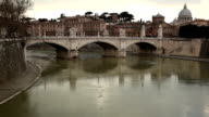 Tiber River And Ponte Vittorio Emanuele II Bridge video
