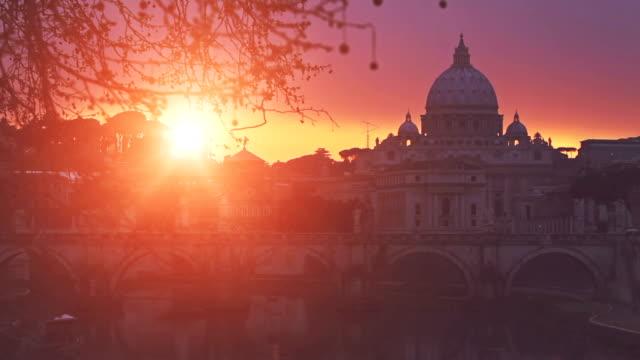 Tiber River and Saint Peter Basilica in Vatican, Rome video