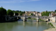Tiber River Sant Angelo Sunny Day, Rome, Italy video