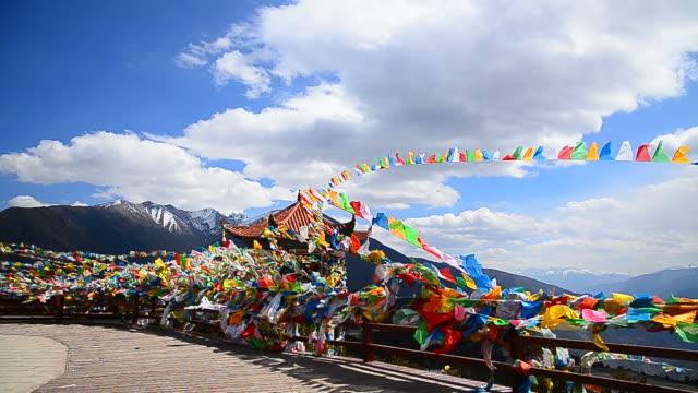 Tibetan Holy Prayer Flags on High Mountain in Yunnan, China video