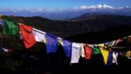 Tibetan prayer flag or Lung ta and Kangchenjunga high mountain range view video