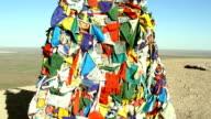 Tibetan prayer flags blowing in the wind video