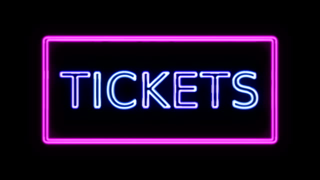 Tickets Neon Sign in Retro Style Turning On video