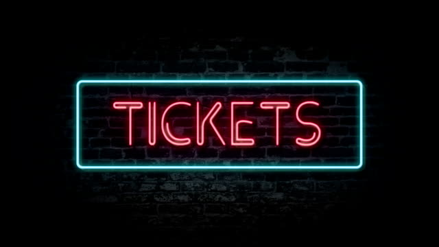 Tickets neon sign video