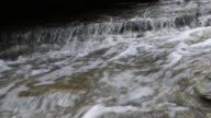 Tight 4k shot of water flowing quickly over rocks video