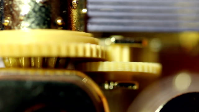 Tight Shot Of Gear Wheels And Cylinder Music Box video