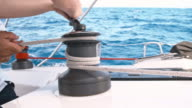 SLO MO Tightening the rope around winch video