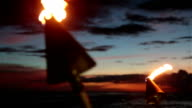 Tiki Torch Flames on Tropical Beach at Sunset, Kauai, Hawaii video