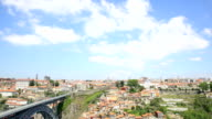 HD Tilt Panning: Dom Luiz bridge in Porto Cityscape Portugal video