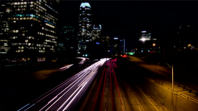 Tilt Shift Time Lapse Busy Los Angeles Freeway At Night video