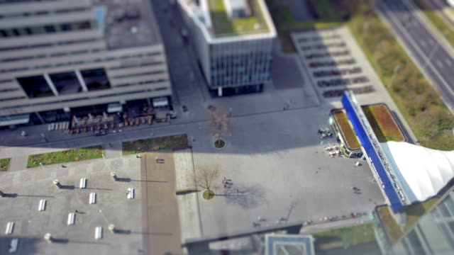 Tilt shift time lapse on business district video