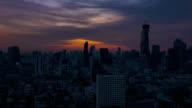 Tilt shot of time lapse view of Bangkok city skyline at sunrise video