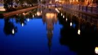 HD Tilt: Spanish Square espana Plaza in Sevilla Spain night video