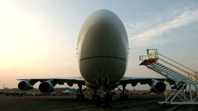 Tilt up to wide angle view of Jumbo Jet video