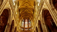 Tilting Shot of the Central Aisle of St Vitus Cathedral in Prague, Czech Republic (Czechia) video