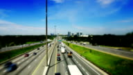 Tilt-Shift of King's Highway 401 near Toronto in Ontario Canada video