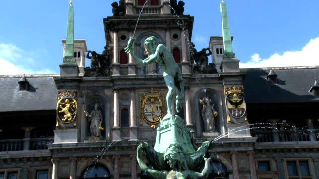 HD tilt-up Brabo Fountain Antwerp Belgium video