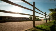 Tilt-up time lapse of operating horse-breeding farm surrounded by a wooden fence and trees against blue sky with moving sun and clouds.. video