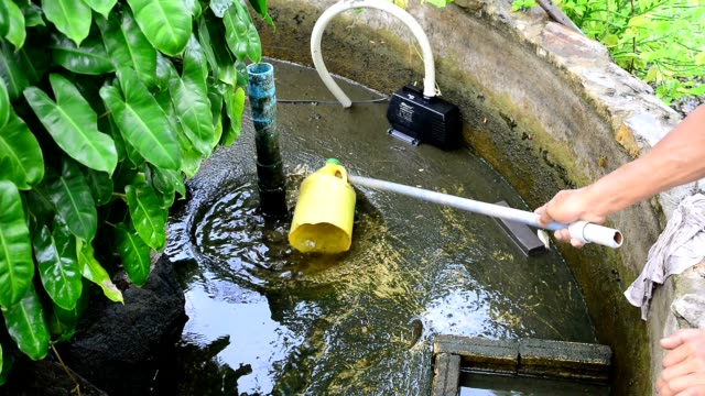 Time for cleaning fish pond. video