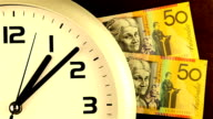 Time is Money - gold tinted clock and cash video
