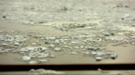 Time laps. Embankment, view of an ice drift on the river video