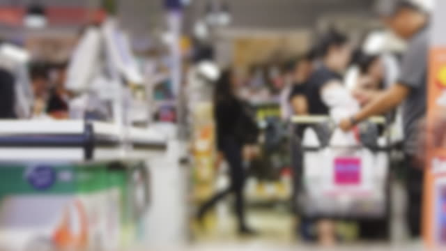 4K Time Lapse 4096x2160 : The crowd at supermarket payout at cashier counter with ProRes 422HQ (Miniature style). video