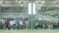 4K Time Lapse 4096x2160 : The traveler crowd boarding at airport gate with ProRes 422HQ format video