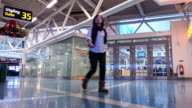 Time Lapse 4K: People Traveler Crowd at Airport, Sweden video