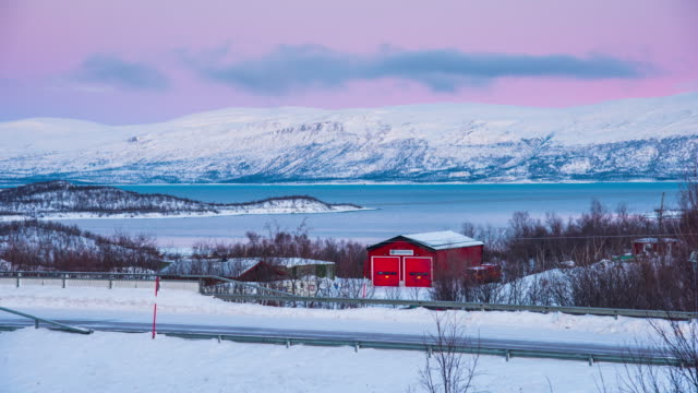 Time Lapse 4K: Red House In The Snow, Abisko National Park, Sweden video