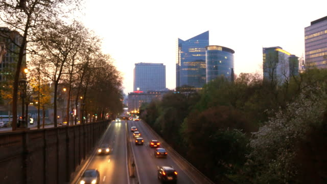 Time lapse 4k video of traffic and skyline in Brussels, Belgium video