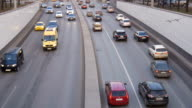 Time lapse. A large traffic of cars, along city streets video