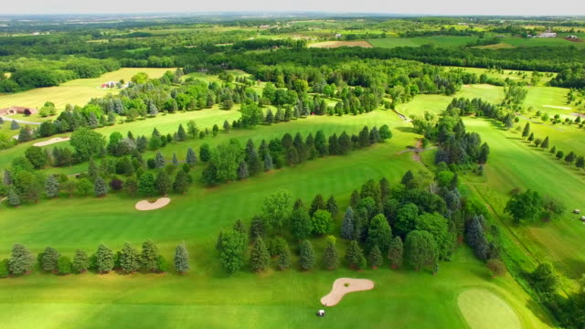 Time Lapse Aerial Flyover, Golf Course, Cloud Shadows Sweeping Across video