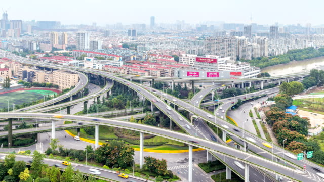 Time Lapse Aerial View Chinese Nanjing Busiest Highway, Freeway, Motorway, Busy Urban City Transportation Interchange, video