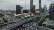 Time Lapse- Aerial view of Beijing CBD and City Traffic (WS Panning) video