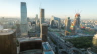 Time Lapse- Aerial view of Beijing CBD area (WS Panning) video