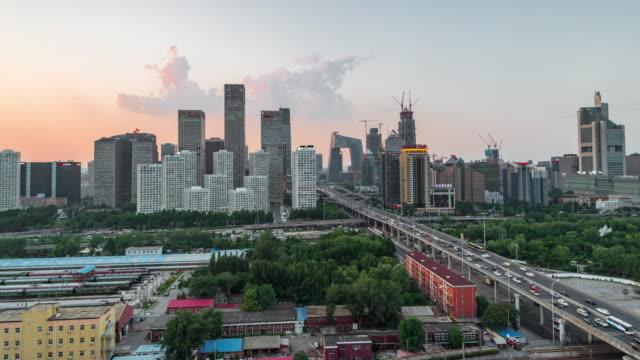 Time Lapse- Aerial view of Beijing CBD area (WS HA RL Pan) video