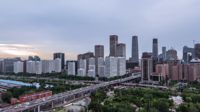 Time Lapse- Aerial view of Beijing CBD area video
