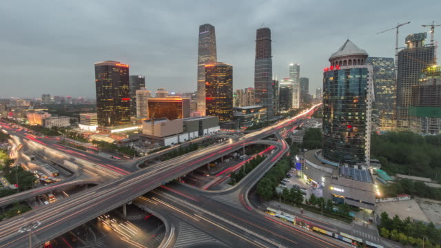 Time Lapse- Aerial view of Beijing CBD, Day to Night Transition video