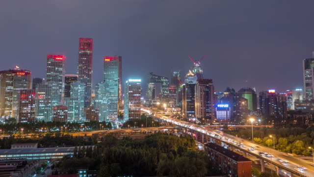 Time Lapse - Aerial View of Beijing Skyline at Night, Beijing CBD video
