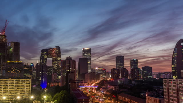 Time Lapse- Aerial View of Beijing Skyline at Night, Dusk to Night Transition (WS/RL Pan) video