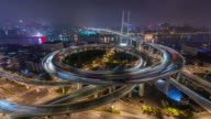 Time Lapse- Aerial View of Busy Overpass in Shanghai at Night, Nanpu Bridge (WS Zoom in) video
