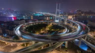 Time Lapse- Aerial View of Busy Overpass in Shanghai at Night, Nanpu Bridge (WS Panning) video
