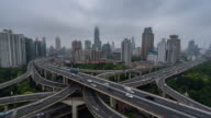 Time Lapse- Aerial View of Busy Overpass in Shanghai (Zoom in) video