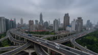 Time Lapse- Aerial View of Busy Overpass in Shanghai (WS HA Panning) video