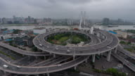 Time Lapse- Aerial View of Busy Overpass in Shanghai (WS HA LR Pan) video