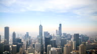 Time lapse : Aerial view of Chicago downtown at sunset video