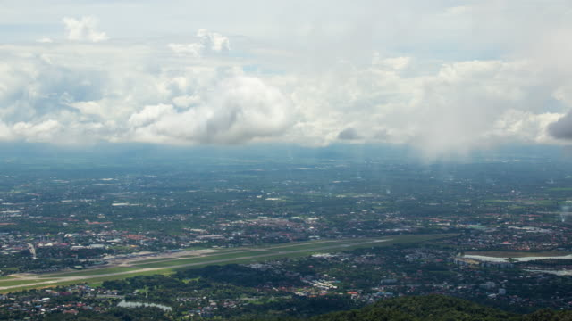 Time lapse, Aerial view of clouds over Chiang Mai cityscape, northern Thailand video