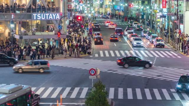 4K Time Lapse : Aerial view of Shibuya pedestrian crossing by night, Tokyo, Japan video