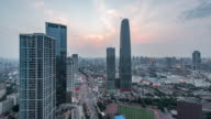 Time Lapse- Aerial View of Tianjin Skyline (WS HA RL Pan) video